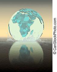 Burundi on globe splashing in water