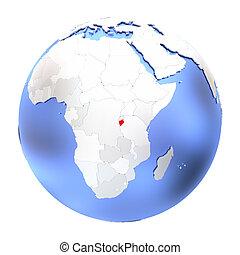 Burundi on metallic globe isolated
