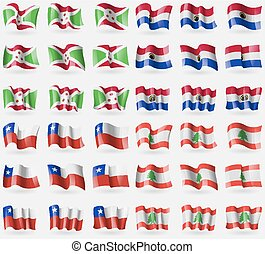 Burundi, Paraguay, Chile, Lebanon. Set of 36 flags of the countries of the world. Vector
