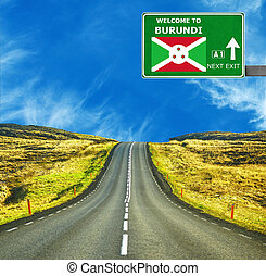 Burundi road sign against clear blue sky