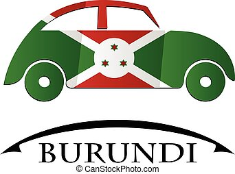 burundi, voiture, drapeau, fait, icône