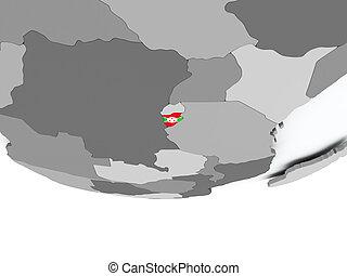 Burundi with flag on globe