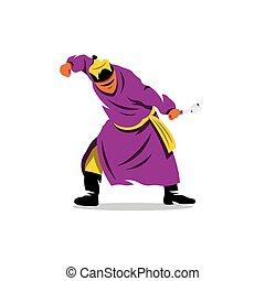 Buryat sport. Heyer shaalgan festival. Breaking spinal bones. Vector Cartoon Illustration.