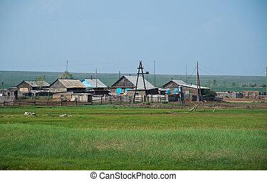 Buryat village. Barguzin valley,Buryatia, Russia.