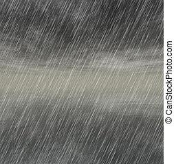 burza, pogoda, tła, deszcz, pochmurny