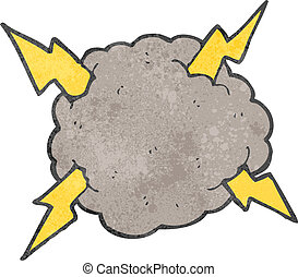 burza, retro, chmura, rysunek