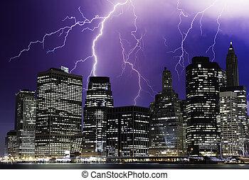 burza, w, przedimek określony przed rzeczownikami, noc, na, nowy york, drapacze chmur