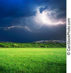burza, w, zielona łąka