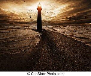 burzowe niebo, na, latarnia morska