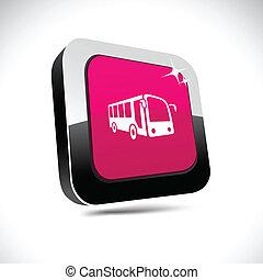 Bus 3d square button.