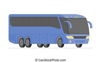 bus, abbildung, vektor, ecke, straße, ansicht