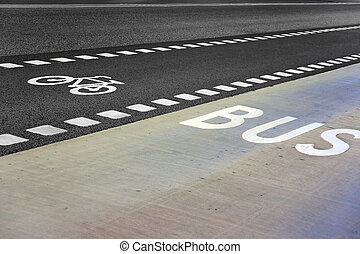 Bus and bicycle lane on an empty road