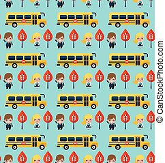 bus and school children pattern