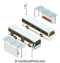 Bus and shelter. - Bus and bus shelter. Both sides views. ...