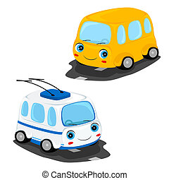 bus and trolley bus - funny cartoon yellow bus and white ...