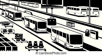 Bus assembly line - vector illustration