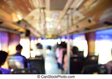 bus, bild, verwischen, leute