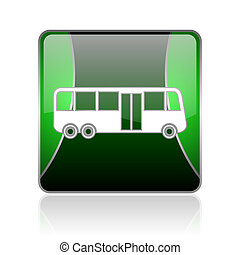 bus black and green square web glossy icon