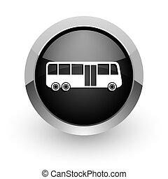 bus black chrome glossy web icon