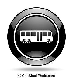 bus black glossy icon