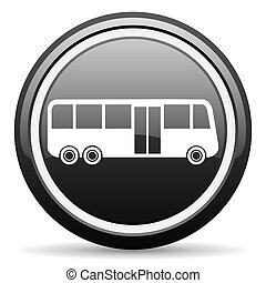 bus black glossy icon on white background