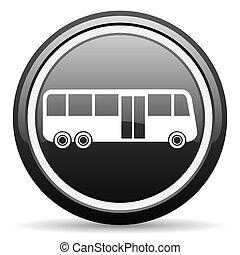 bus black glossy icon on white background