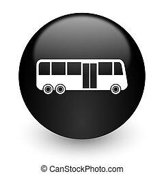 bus black glossy internet icon