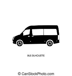 Bus black silhouette on a white background. Vector...