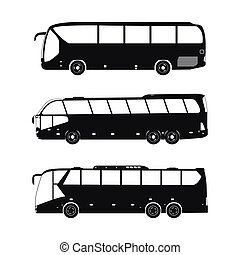 Bus black silhouettes on a white background