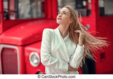 bus., blanc, porter, femail, apprécier, life., portrait ...