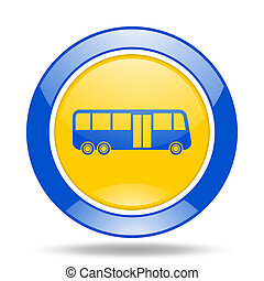 bus blue and yellow web glossy round icon