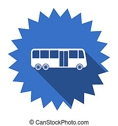 bus blue flat icon