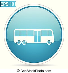 Bus blue glossy round vector icon in eps 10. Editable modern design internet button on white background.