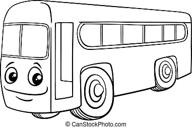 bus character cartoon coloring book