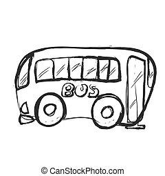 Bus doodle, vector icon