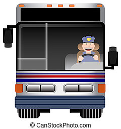 Bus Driver - An image of the front view of a bus with...