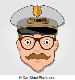 Bus Driver Cartoon Face with Glasses. Vector illustration.