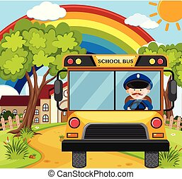 Bus driver driving schoolbus on the road illustration