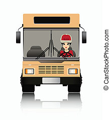 Bus driver - The female driver of a white background.