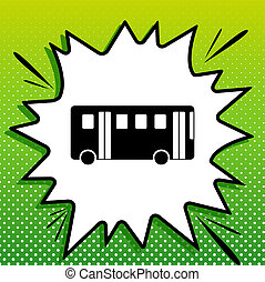 bus, eenvoudig, witte , black , popart, groene achtergrond, pictogram, teken., spots., illustration., gespetter