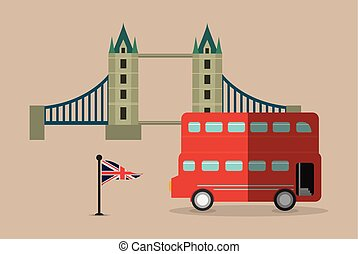 bus flag bridge london england design