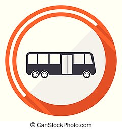 Bus flat design vector web icon. Round orange internet button isolated on white background.