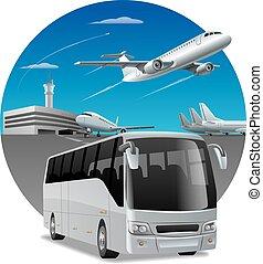 bus, flughafen