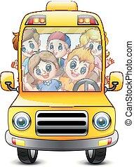 bus, geitjes, vrolijke , paardrijden