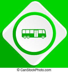 bus green flat icon