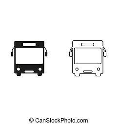 Bus - green vector icon
