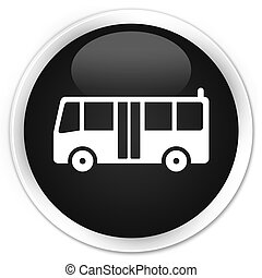 Bus icon black glossy round button