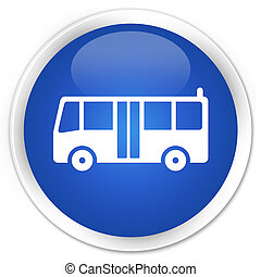 Bus icon blue glossy round button