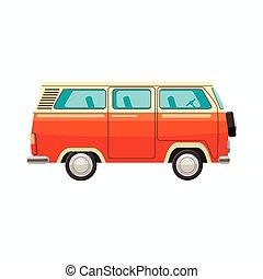 Bus icon, cartoon style