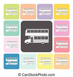 Bus Icon color set vector illustration